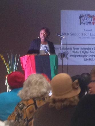 Alicia Garza speaking at the Black Worker's for Justice 32nd annual MLK Jr Support for Labor Banquet